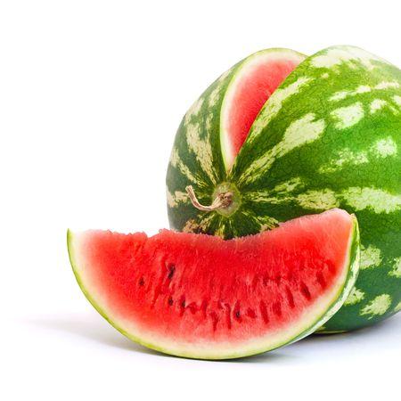 Foto für Watermelon and slice of watermelon isolated on white background - Lizenzfreies Bild