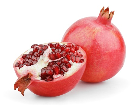 Ripe pomegranate fruit with half isolated on white background