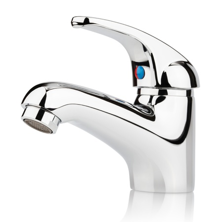 Closeup of water-supply faucet mixer for water isolated on white with clipping path