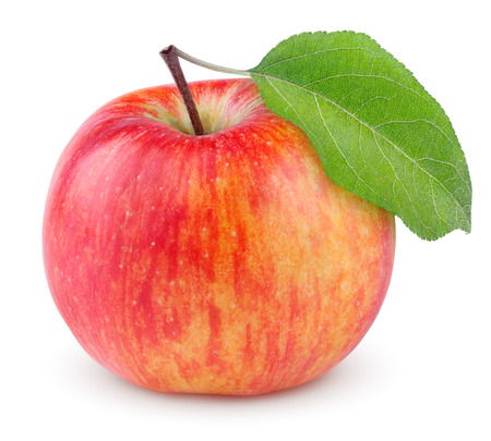 Photo for Red yellow apple with green leaf isolated on white background - Royalty Free Image
