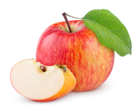 Photo for Red yellow apple with green leaf and slice isolated on white background - Royalty Free Image