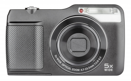 Digital compact camera closed lens isolated on white