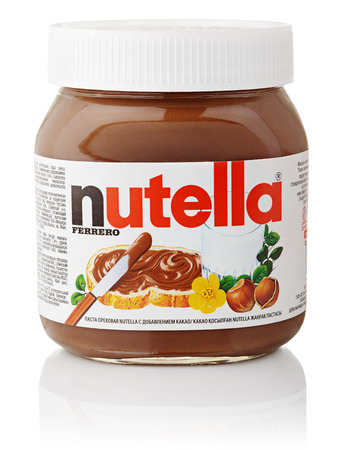 Jar of Nutella hazelnut chocolate spread  Manufactured by the Italian company Ferrero