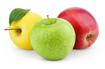 Photo for Yellow, green and red apples isolated on white with clipping path - Royalty Free Image