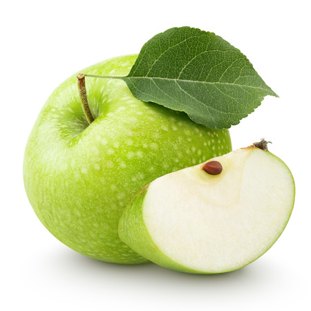 Ripe green apple with leaf and slice isolated on a white background with clipping path