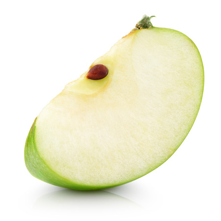Green apple slice isolated on white with clipping path
