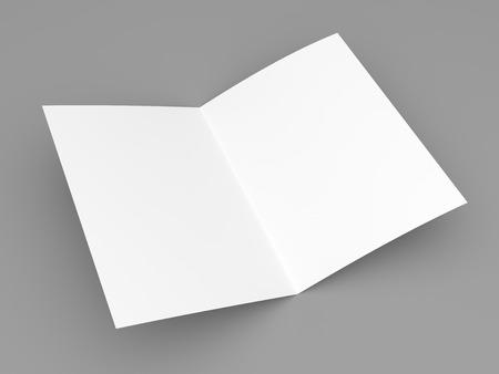 Blank folded flyer, booklet, postcard, business card or brochure mockup template on grey background