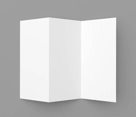 Leaflet blank tri-fold white paper brochure mockup on grey background