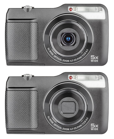 Digital compact cameras with open and closed lens isolated on white with clipping path
