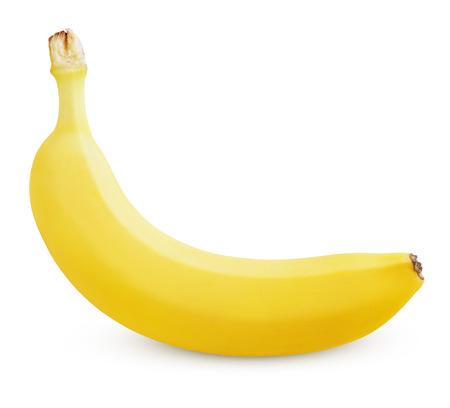 Photo for Single ripe yellow banana isolated on white background - Royalty Free Image