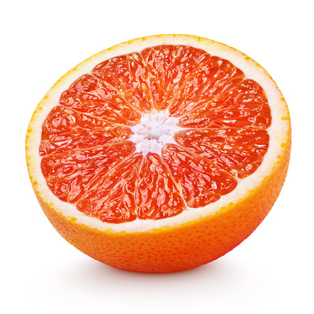 Foto de Half of blood red orange citrus fruit isolated on white background - Imagen libre de derechos
