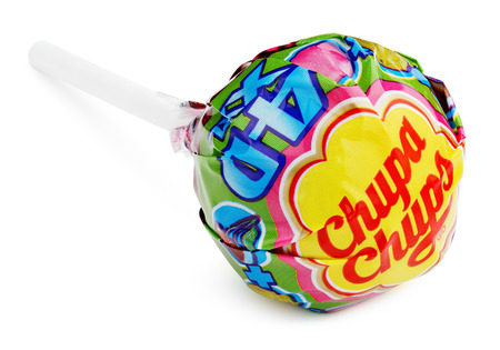 Photo pour MOSCOW, RUSSIA - FEBRUARY 5, 2017: Chupa Chups XXL 4D lollipop candy isolated on white background. - image libre de droit