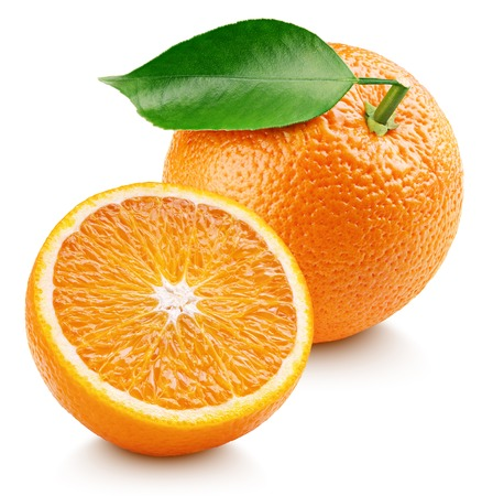 Photo for Whole ripe orange citrus fruit with leaf and orange half isolated on white background. Oranges with clipping path. Full depth of field. - Royalty Free Image
