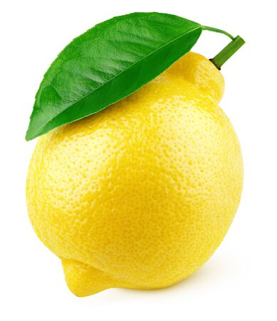 Photo for Ripe full yellow lemon citrus fruit with green leaf isolated on white background with clipping path. Full depth of field. - Royalty Free Image