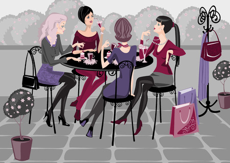 girls spend their time in a street cafe