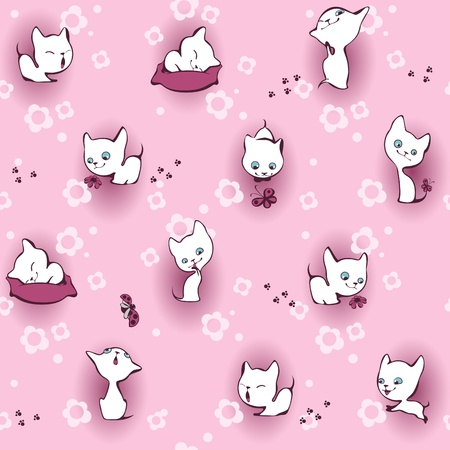 white kitten in flowers. Wallpaper pink
