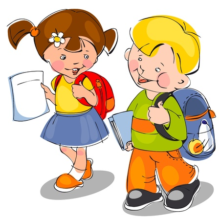 happy children come with backpacks and notebooks to school. banner