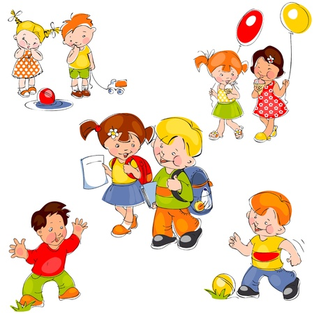 set of colored painted children. Children in school, children in kindergarten and kids for a walk