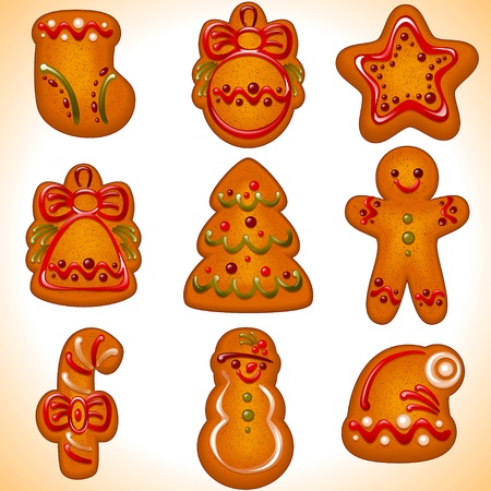 collection of the Christmas cookies isolated on white background.Vector illustration - set of christmas icons.