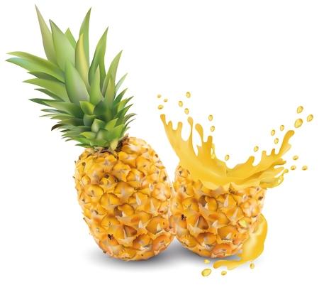Illustration pour Pineapple juice close-up. Fresh pineapple juice. Splash with pineapple on a white background. Vector graphics. Realistic pineapple - image libre de droit