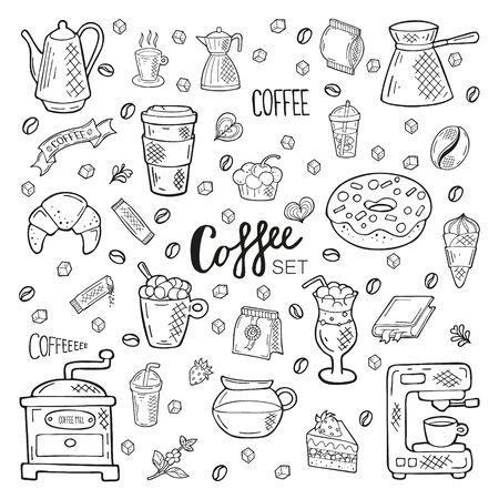 Illustration for Big hand drawn coffee set. Lettering and objects in doodle style. Black outline isolated on a white background. Cute elements for card, social media banner, sticker, menu, design. Vector illustration. - Royalty Free Image