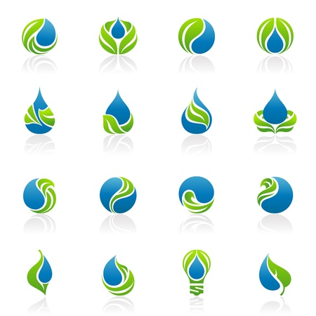 Drops and leaves. Vector logo template set. Elements for design. Icon set.