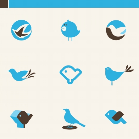 Set of cute birds. Elements for design. Icon set.