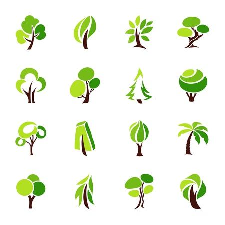 Illustration pour Trees. Vector logo template set. - image libre de droit