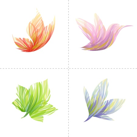 Collection of colorful design elements: butterfly, hummingbird, leaf, flower. Vector illustration.