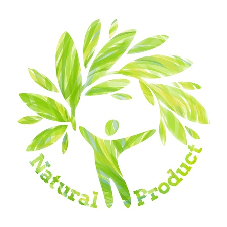 Human figure holding foliage branch. Natural product design concept.