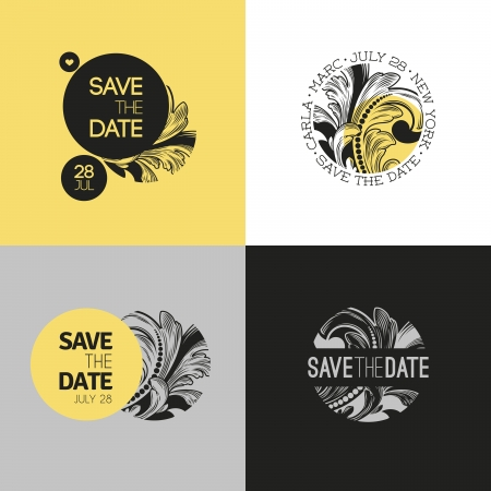 Save the date - wedding graphic set in baroque style - Vector illustration