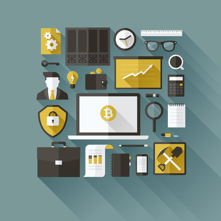 Bitcoin essentials - modern flat vector design elements