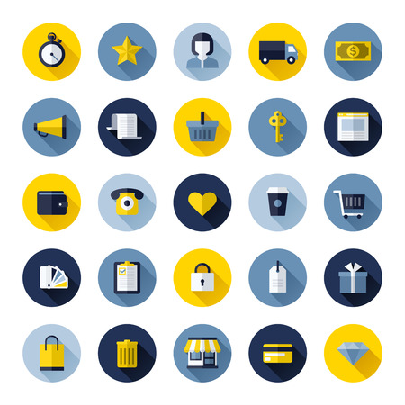 Modern flat icons set of online shopping and e-commerce for web design and mobile apps