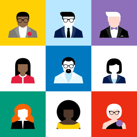 Modern flat vector avatars set. Colorful male and female user icons