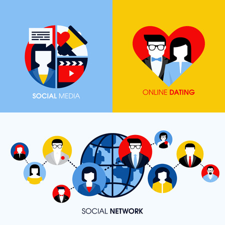 Social network, social media and online dating modern flat concepts