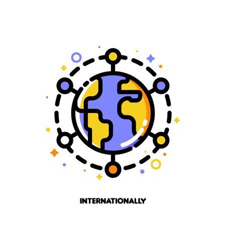 Icon of globe for international financial markets concept. Flat filled outline style. Pixel perfect 64x64. Editable stroke