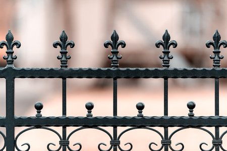 Photo pour Wrought-iron fencing painted black with the decorations. The background is blurred. Shallow depth of field. - image libre de droit