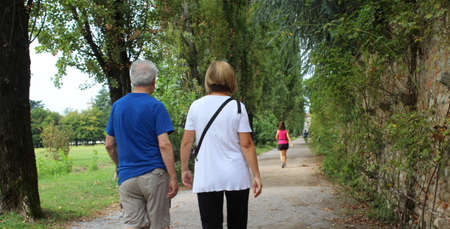 Photo for Elderly couple strolling in the park in autumn - Royalty Free Image