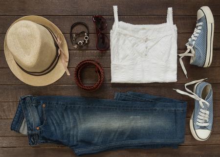 Foto de Outfit of casual woman. Top view of clothing and  accessory for women. - Imagen libre de derechos