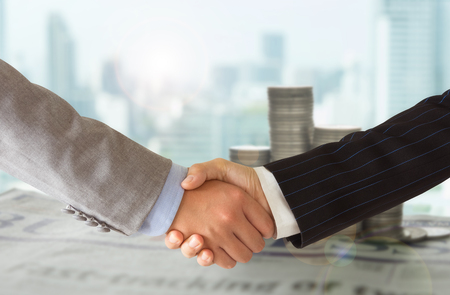 Business People Handshake Greeting ,Dealing, Merger and Acquisition, Congrats Concept.