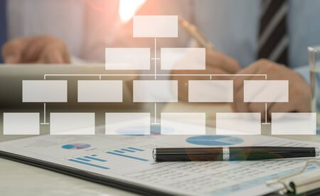 Foto de business structure concept. businessman team meeting management organization chart personnel. - Imagen libre de derechos