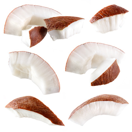 Coconut. Pieces isolated on a white background