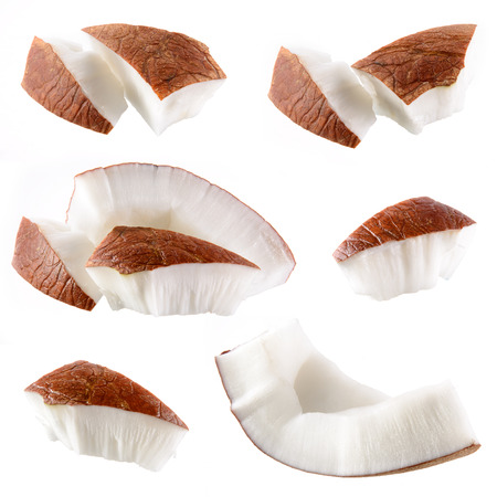 Coconut  Pieces isolated on a white