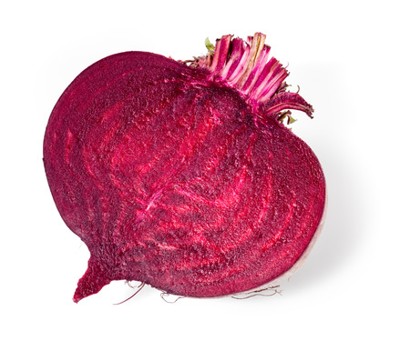 Fresh beetroot half isolated on whiteの写真素材