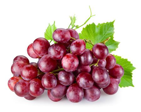 Foto für Ripe red grape with leaves isolated on white - Lizenzfreies Bild