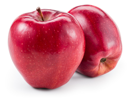 Photo for Fresh red two apples isolated on white. With clipping path - Royalty Free Image