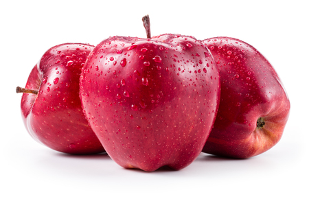 Foto de Three fresh red apples with drops isolated on white - Imagen libre de derechos