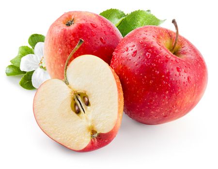 Photo for Red apple. Fruit with drops and leaves. With clipping path - Royalty Free Image