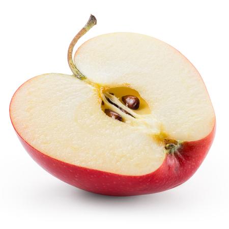 Foto de Half of red apple isolated on white. With clipping path. - Imagen libre de derechos