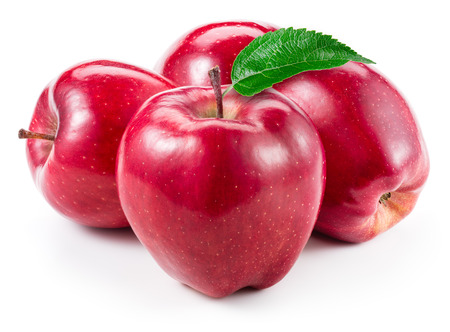 Photo for Red apples. Fruit with leaf isolated on white. - Royalty Free Image